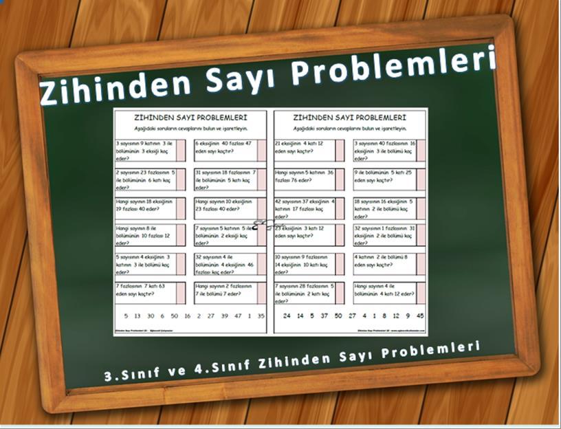 zihinden sayı problemleri